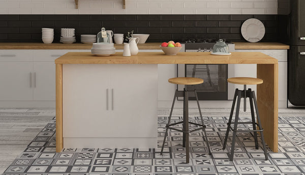 Encaustic style kitchen floor tiles