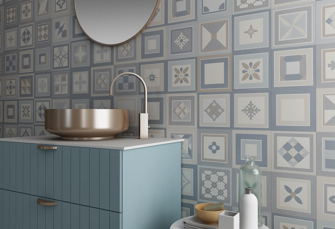 Encaustic Tiles on Stylish Bathroom Wall