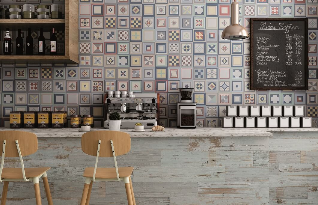 Encaustic Wall Tiles in Beautiful Cafe
