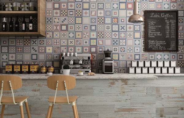 Encaustic Style Wall Tiles in a Cafe Restaurant