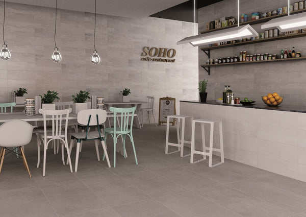 Grey Cement Effect Floor Tiles in a Restaurant