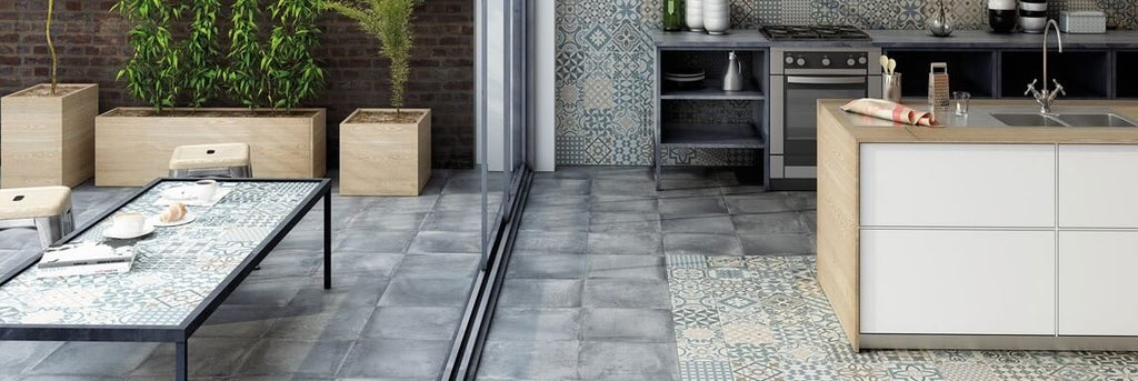 Heritage Kitchen Floor Tiles with Island Counter