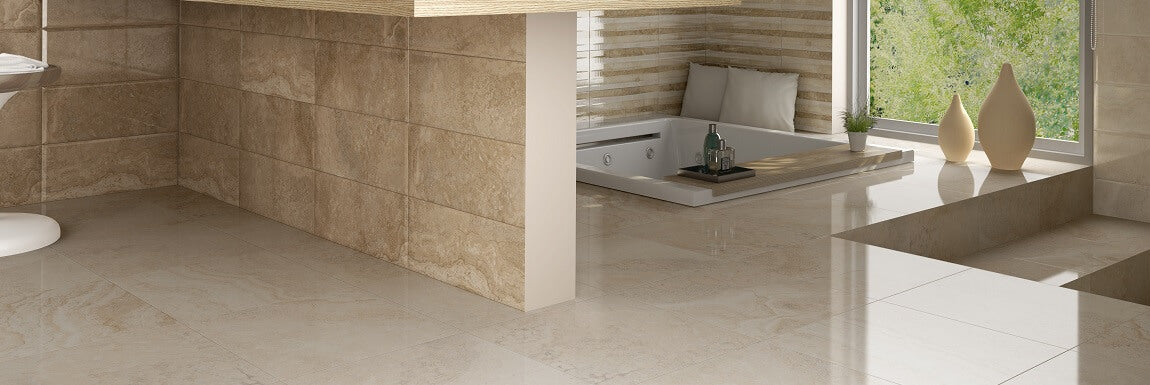 Jazmine Cream Bathroom Floor Tiles with Sunken Bath