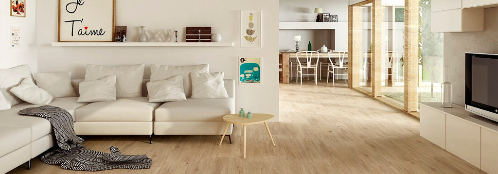 Laponia Wood Effect Tiles in Stylish Home with White Couch