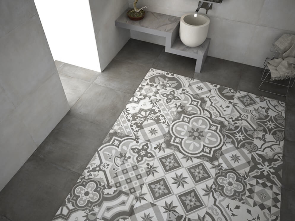 Patchwork Hydraulic Tiles in Large Bathroom