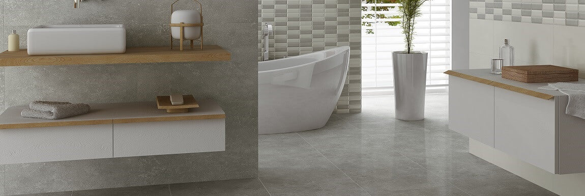 Tiled Bathroom - Large Grey Tiles with On Trend Hand Basin and Bath Tub
