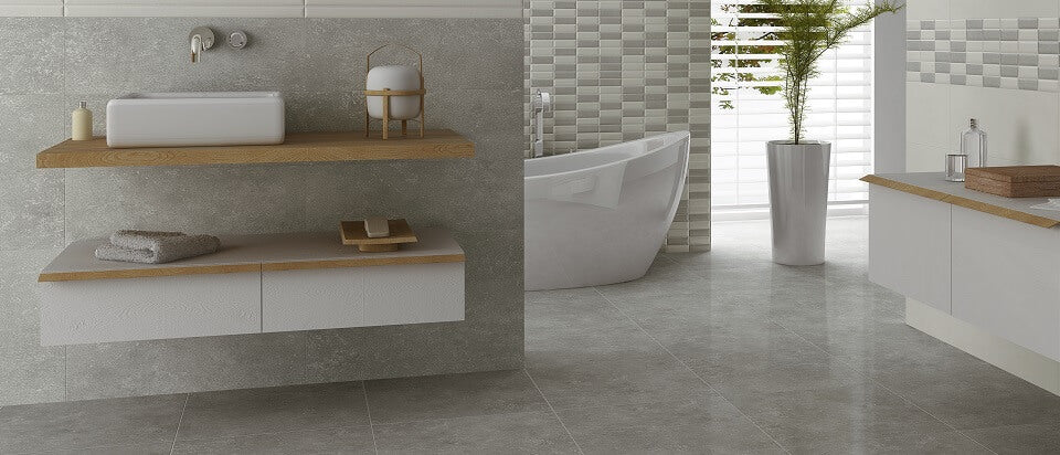 Large Grey Wall and Floor Tiles in Stunning Bathroom