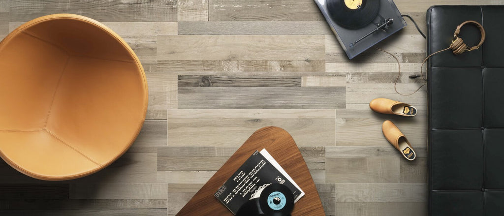 Wood Effect Floor Tiles in Stylish Apartment with Black Couch, Turntable, and Wood Coffee Table