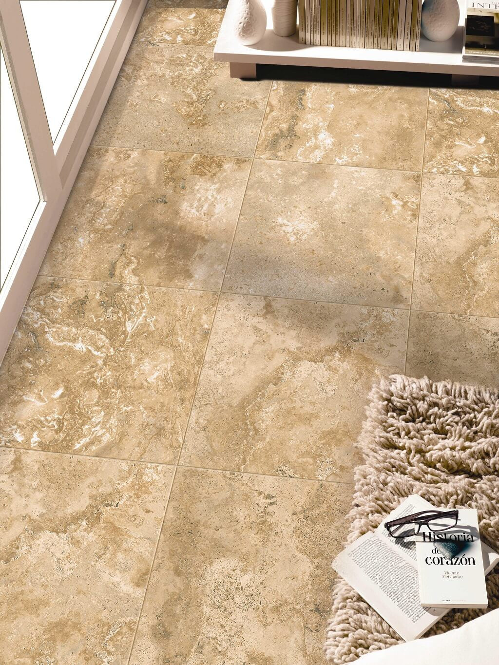 Travertine effect floor tiles by spains azulindus y marti alamo cream floor tiles and books in smart apartment dailygadgetfo Images