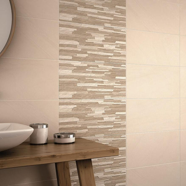 Kodiak Cladding Tiles and Anchorage Cream Tiles on Bathroom Wall