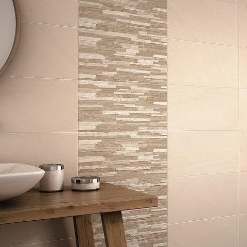 Anchorage Cream Tiles and Kodiak Cladding Tiles on Bathroom Wall
