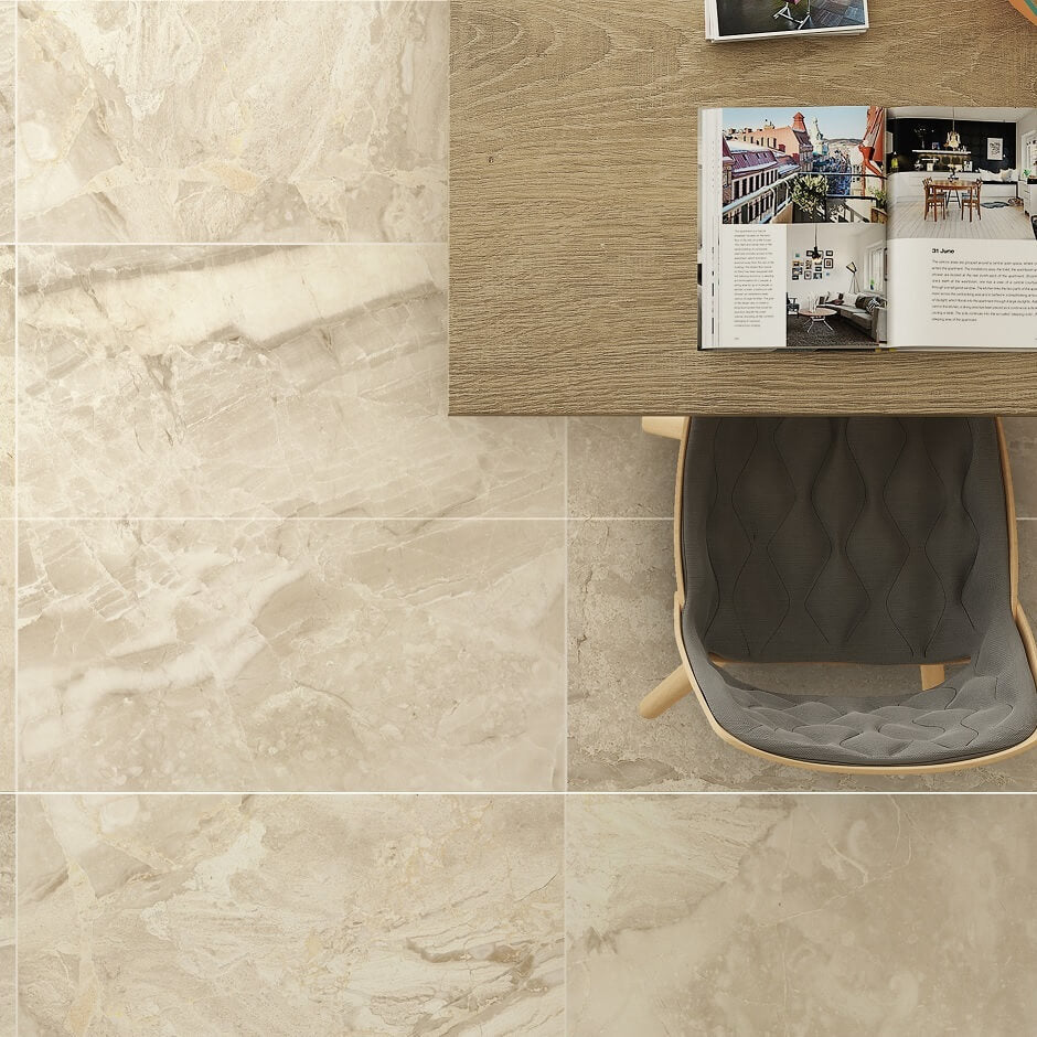 Porcelain kitchen tiles with an opulent cream marble effect antica marble effect cream floor tiles with desk and chair dailygadgetfo Images