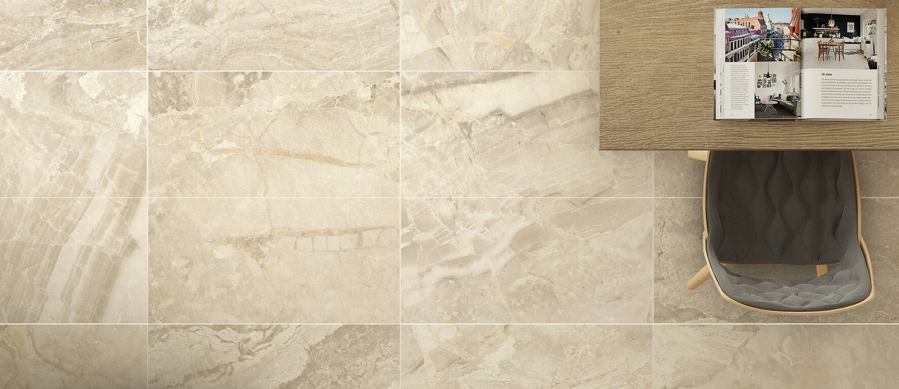 Porcelain kitchen tiles with an opulent cream marble effect antica marble effect large cream floor tiles with desk and chair dailygadgetfo Choice Image