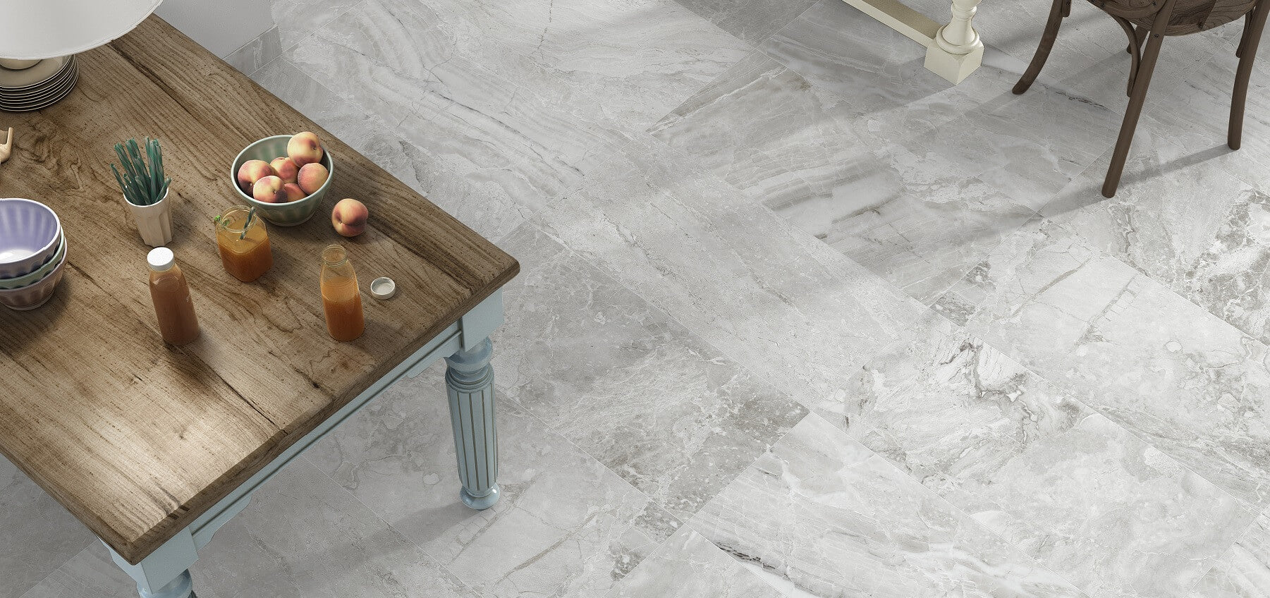 Porcelain Kitchen Tiles with a Beautiful Light Grey Marble Effect