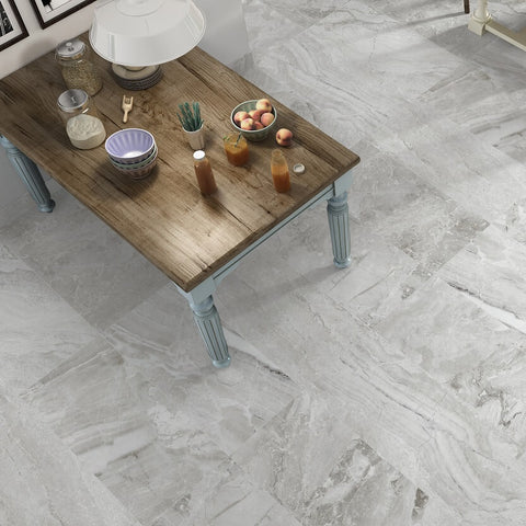 Antica Perla Porcelain Kitchen Tiles with Kitchen Table
