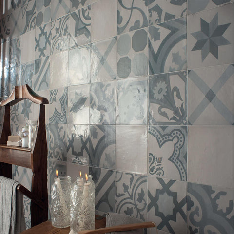 Antique Azul Ceramic Tiles on a Bathroom Wall with Candle