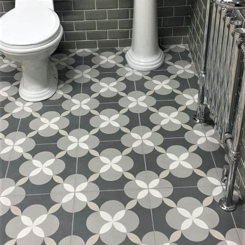 Atelier Geo Patterned Encaustic Bathroom Floor Tiles