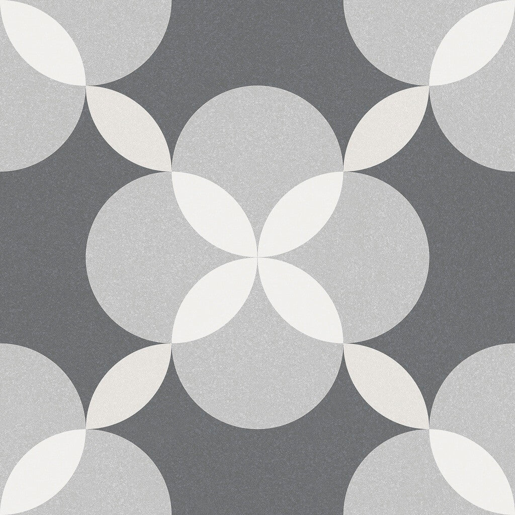 Patterned grey floor tiles styling by gayafores atelier geo patterned floor tile 33 x 33 cm dailygadgetfo Image collections