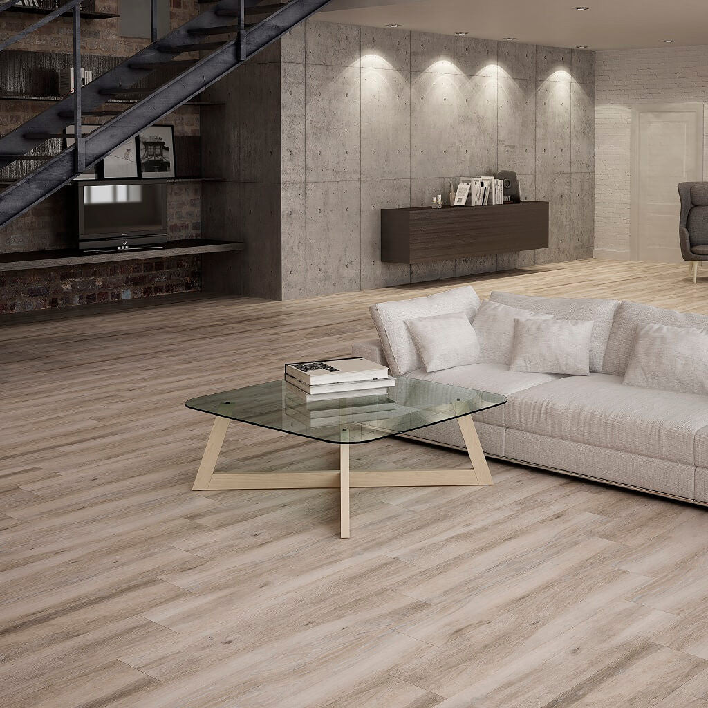 sale atelier taupe wood effect tiles in modern living room - Porcelain Floor Tiles For Living Room