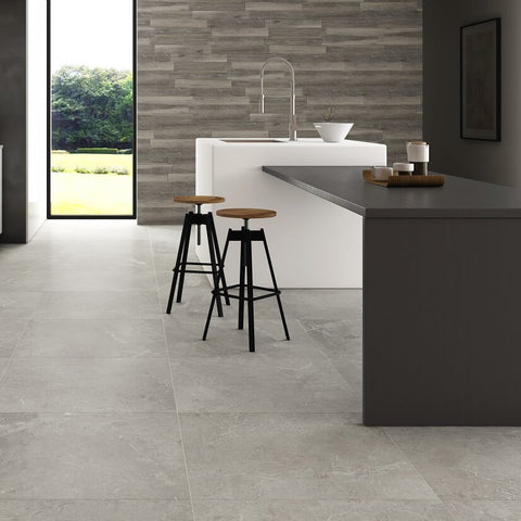 Bellagio Grey Floor Tiles in Modern Kitchen