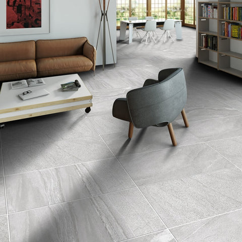 Blendstone Large Grey Floor Tiles in Modern Apartment