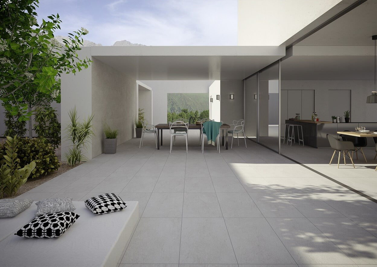... Chicago Grey Floor Tiles On Beautiful Patio With Alfresco Dining ...
