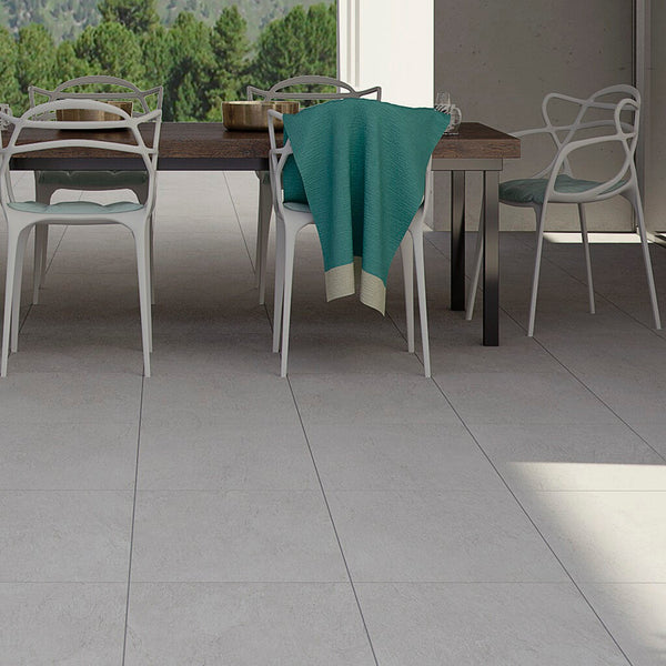 Chicago Large Grey Gris Floor Tiles on Stylish Patio with Table and Chairs