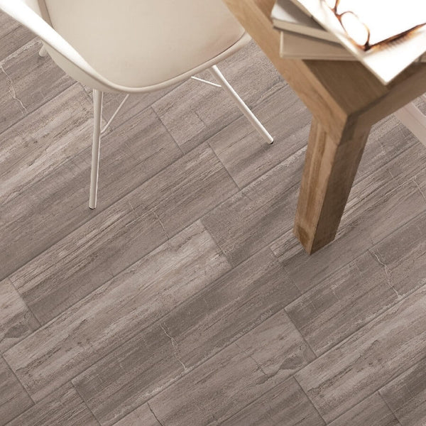 Fossil Wood Effect Floor Tiles in Kitchen