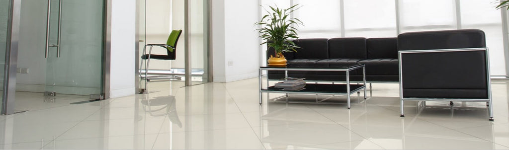 Large White Floor Tiles in Contemporary Office