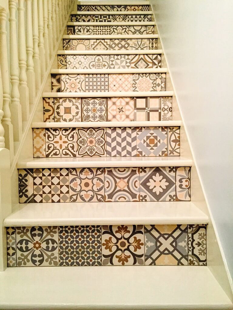 Heritage tiles in art deco style for kitchens and bathrooms heritage floor tiles on a stairs by tile devil customer photo dailygadgetfo Gallery