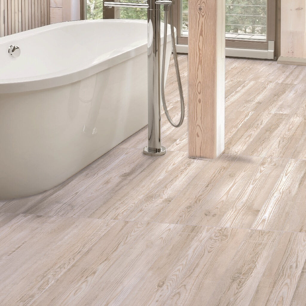 Katmandu White Wood Effect Floor Tiles With Free Standing Bath Tub