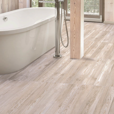 Katmandu White Wood Effect Floor Tiles with Free-Standing Bath Tub