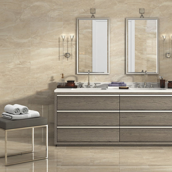 Kenia Marfil Ceramic Wall Tiles in Modern Bathroom