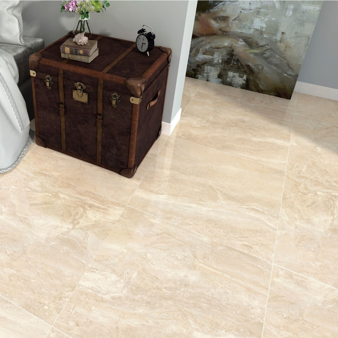 Marble effect tiles in a beautiful high gloss cream kenia marfil large marble effect cream floor tiles with old chest dailygadgetfo Images