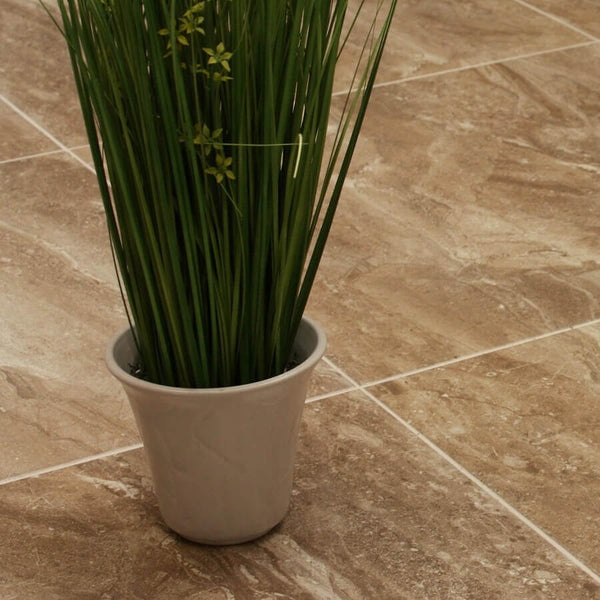 Kenia Moka Marble Effect Floor Tile with Potted Plant
