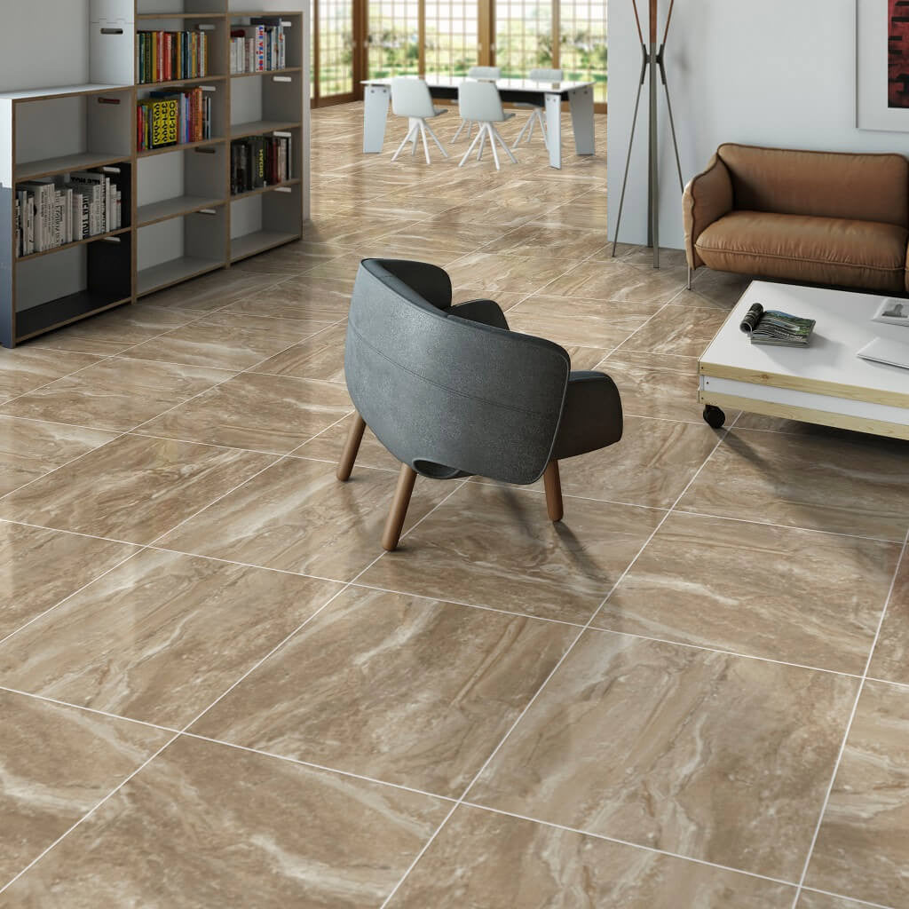 Marble effect floor tiles in a beautiful moka coffee colour kenia moka marble effect large floor tiles in modern home dailygadgetfo Image collections