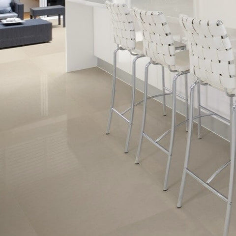 Kensington 60x60 Pearl Grey Polished Porcelain Kitchen Floor Tiles with High Stools