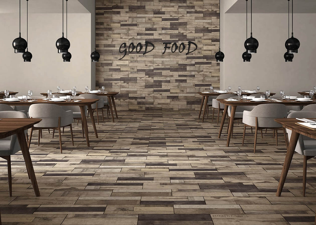 Wood Effect Tiles in Stylish Restaurant with Set Tables
