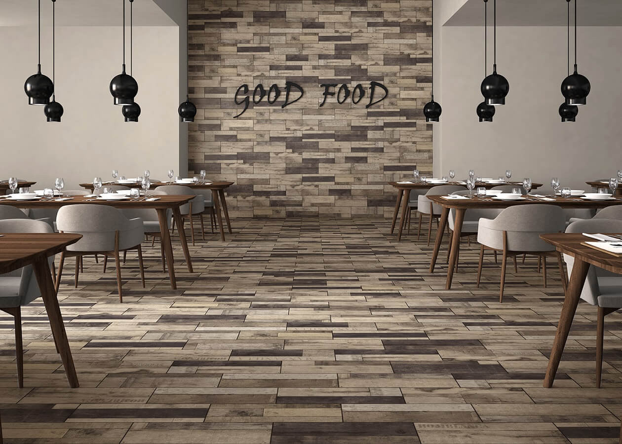 ... Madera Grey Wood Effect Tiles In Stylish Restaurant With Set Tables ... Part 87