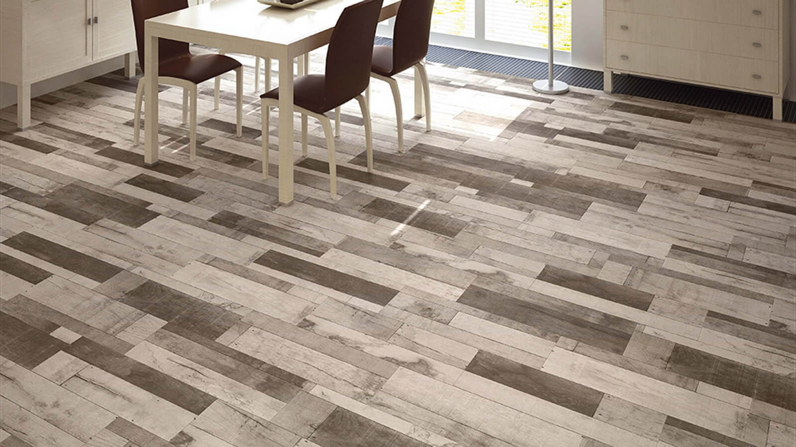 Wood effect floor tiles by spains azulindus to transform your home madera grey wood effect tiles on kitchen floor with table and chairs doublecrazyfo Image collections
