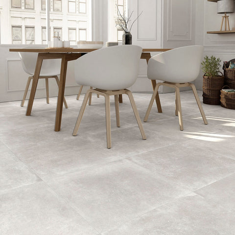 Moliere Large Perla Floor Tiles in Kitchen with Urban View