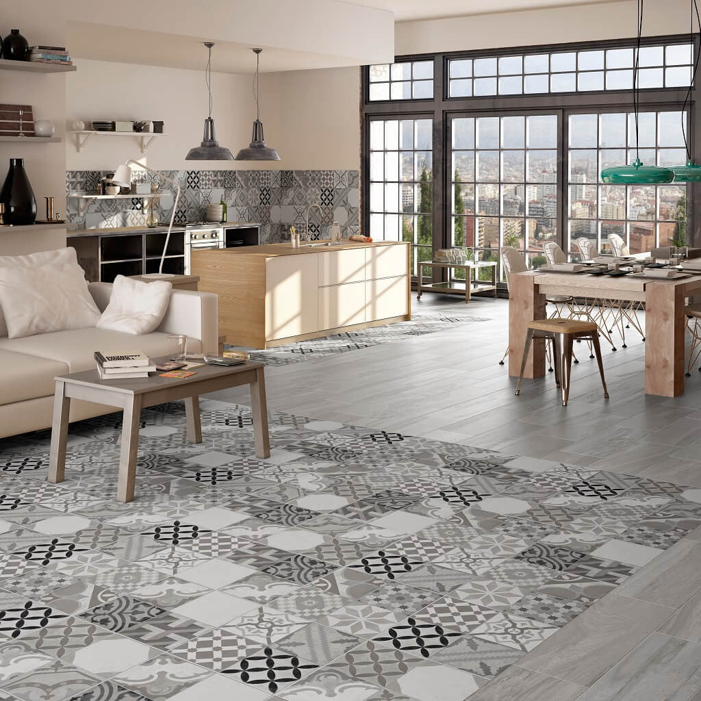 Vintage style floor tiles presenting the stunning moments gris moments grey ceramic kitchen floor tiles in modern apartment with view of city dailygadgetfo Image collections