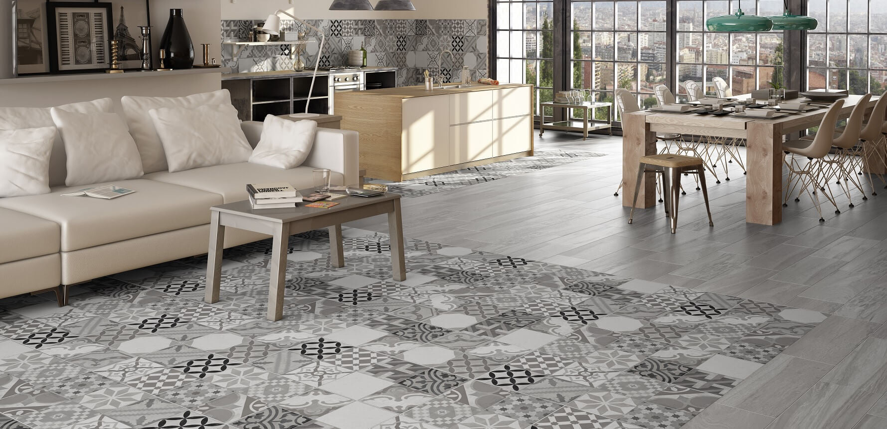 Moments Grey Floor Tiles In Stunning Loft Apartment With View Of City