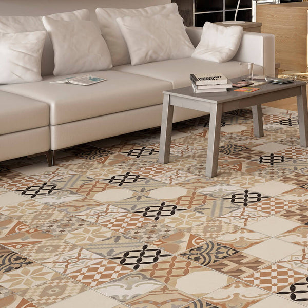 Patterned Floor Tiles in Modern Apartment