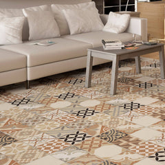Moments Mix Coloured Floor Tiles with Cream Couch and Coffee Table