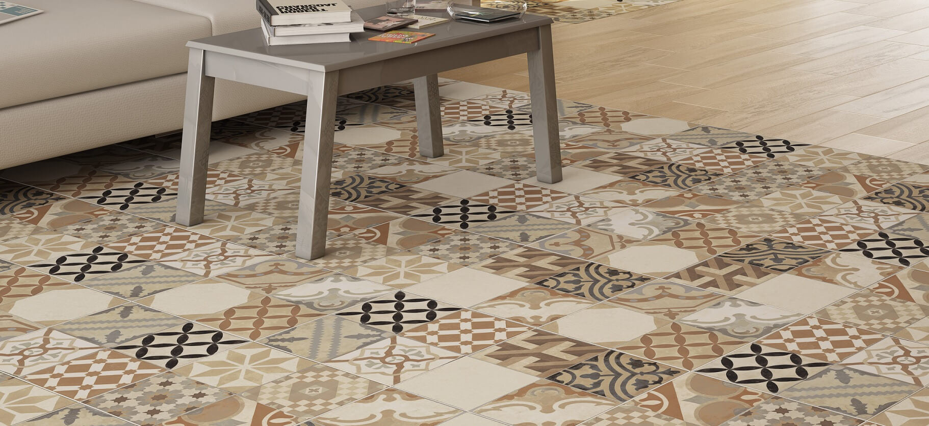 Vintage Style Floor Tiles The Rustic Coloured Moments Mix