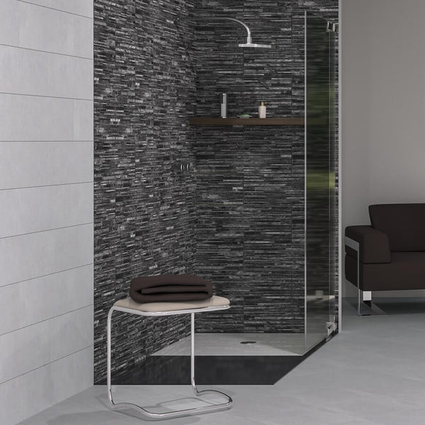 Muretto Ceniza Wall Tiles in Beautiful Shower Area