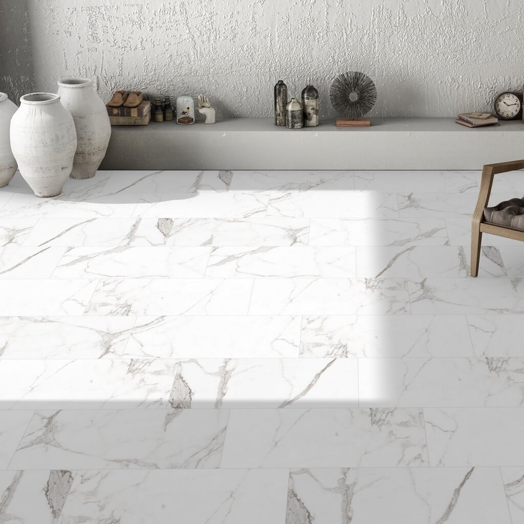 Marble effect porcelain tiles for stunning uk homes palatina marble effect floor tiles in home dailygadgetfo Gallery