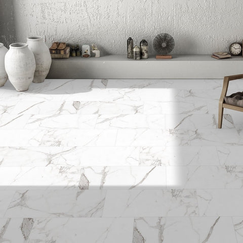 Naos Marble Effect Floor Tiles in Home