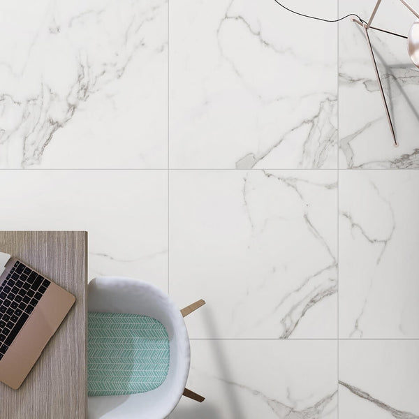 Naos Marble Effect Floor Tiles with Work Desk